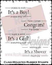 Label Lingo Showers Cling Mounted Rubber Stamps from Red Rubber Designs