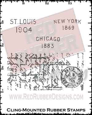 Vintage Postage Cling Mounted Rubber Stamps from Red Rubber Designs