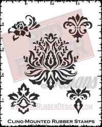 Damask Elements Cling Mounted Rubber Stamps from Red Rubber Designs