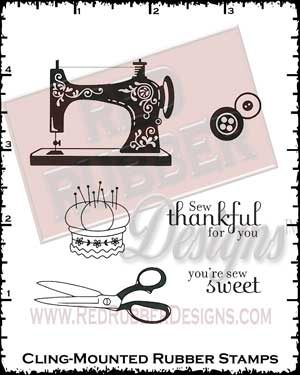 Sew Thankful Cling Mounted Rubber Stamps from Red Rubber Designs