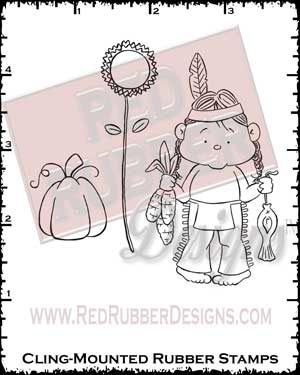 Thanksgiving Indian Cling Mounted Rubber Stamps from Red Rubber Designs