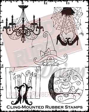Haunted Halloween Cling Mounted Rubber Stamps from Red Rubber Designs