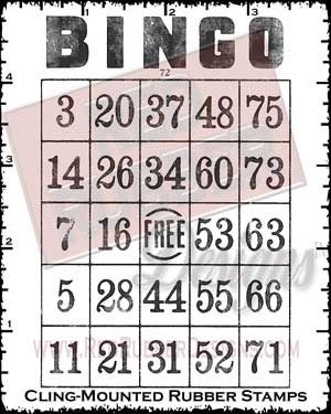 Bingo Card Cling Mounted Rubber Stamps from Red Rubber Designs