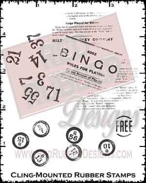 Bingo Pieces Cling Mounted Rubber Stamps from Red Rubber Designs