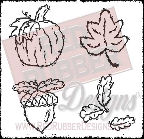 Fabulous Fall Unmounted Rubber Stamps from Red Rubber Designs