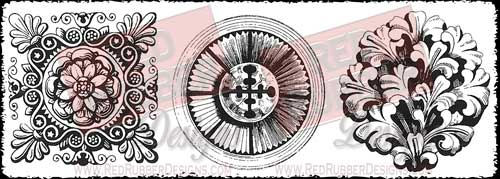 Grand Medallions Unmounted Rubber Stamps from Red Rubber Designs