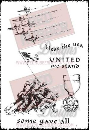 United We Stand Unmounted Rubber Stamps from Red Rubber Designs