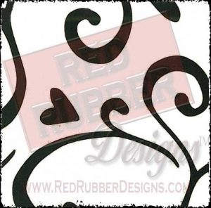 Swirly Heart Background Unmounted Rubber Stamp from Red Rubber Designs