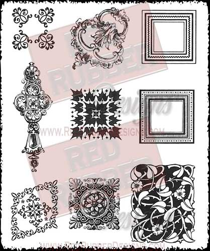 Victorian Embellishments Unmounted Rubber Stamps from Red Rubber Designs