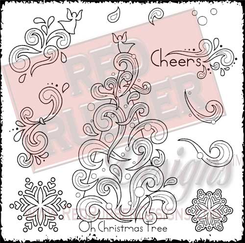Cheery Christmas Unmounted Rubber Stamps from Red Rubber Designs