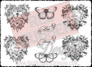 Victorian Hearts Unmounted Rubber Stamps from Red Rubber Designs