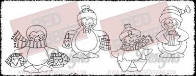 Mister Penguin Unmounted Rubber Stamps from Red Rubber Designs