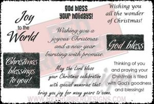 Christmas Blessings Unmounted Rubber Stamps from Red Rubber Designs