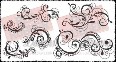 Fancy Curls Unmounted Rubber Stamps from Red Rubber Designs