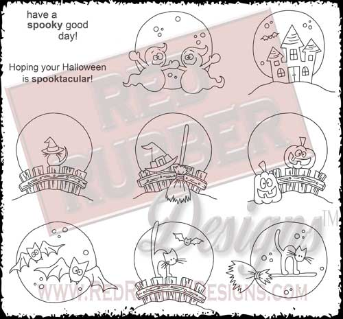 Spooktacular Unmounted Rubber Stamps from Red Rubber Designs
