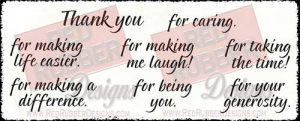 Thank You Words Unmounted Rubber Stamps from Red Rubber Designs