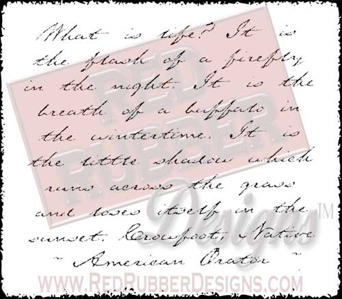 Script Background Unmounted Rubber Stamps from Red Rubber Designs