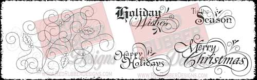 Holly Swirls Unmounted Rubber Stamps from Red Rubber Designs