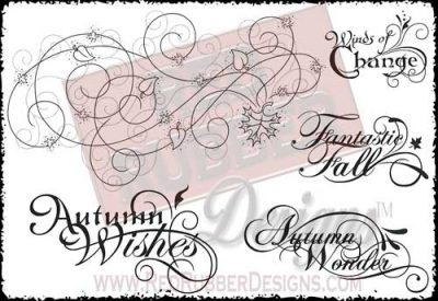 Autumn Swirls Unmounted Rubber Stamps from Red Rubber Designs