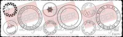 Christmas Circles Unmounted Rubber Stamps from Red Rubber Designs