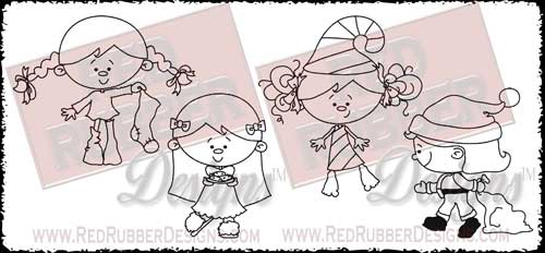 Holiday Girls Unmounted Rubber Stamps from Red Rubber Designs