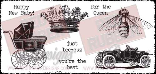Just Bee-Cuz Unmounted Rubber Stamps from Red Rubber Designs