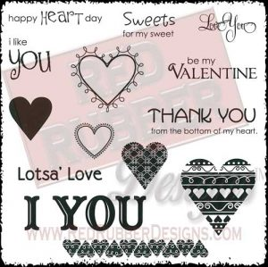 I Heart You Unmounted Rubber Stamps from Red Rubber Designs