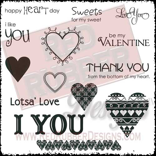 I Heart You Unmounted Rubber Stamps