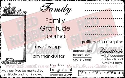 Gratitude Journal Unmounted Rubber Stamps from Red Rubber Designs