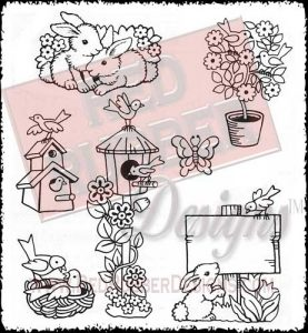 Springtime Garden Unmounted Rubber Stamps from Red Rubber Designs