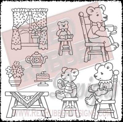 Teddy Bear Tea Party Unmounted Rubber Stamps from Red Rubber Designs