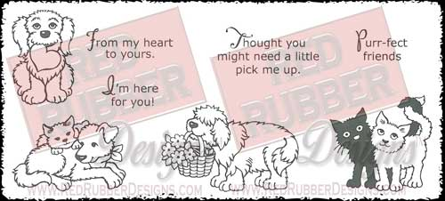 Furry Friends Unmounted Rubber Stamps from Red Rubber Designs