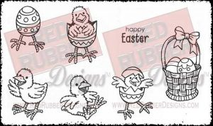 Easter Chicks Unmounted Rubber Stamps from Red Rubber Designs