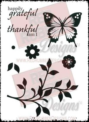 Happily Grateful Unmounted Rubber Stamps from Red Rubber Designs