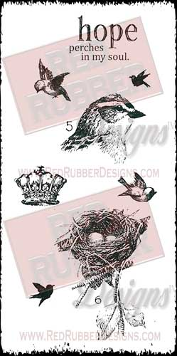 Hope Perches Unmounted Rubber Stamps from Red Rubber Designs