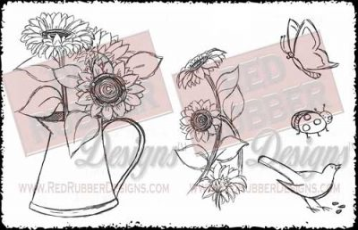 Sunflowers Unmounted Rubber Stamps from Red Rubber Designs