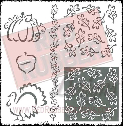 Autumn Leaves Unmounted Rubber Stamps from Red Rubber Designs