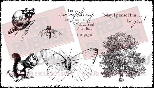 Give Praise To Him Unmounted Rubber Stamps from Red Rubber Designs