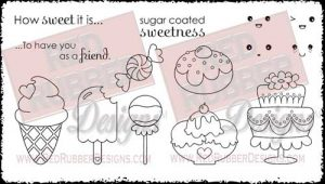 Sugar Coated Sweetness Unmounted Rubber Stamps from Red Rubber Designs