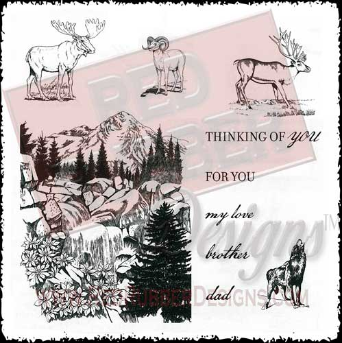 Majestic Mountain Unmounted Rubber Stamps