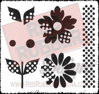 Dotty Flowers Unmounted Rubber Stamps from Red Rubber Designs