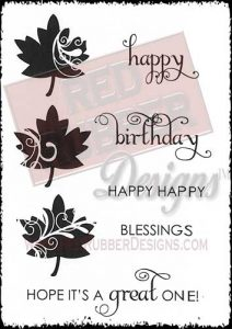 Happy Leaf Unmounted Rubber Stamps from Red Rubber Designs