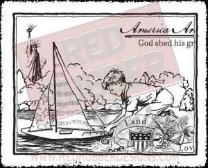 America I Love Unmounted Rubber Stamp from Red Rubber Designs