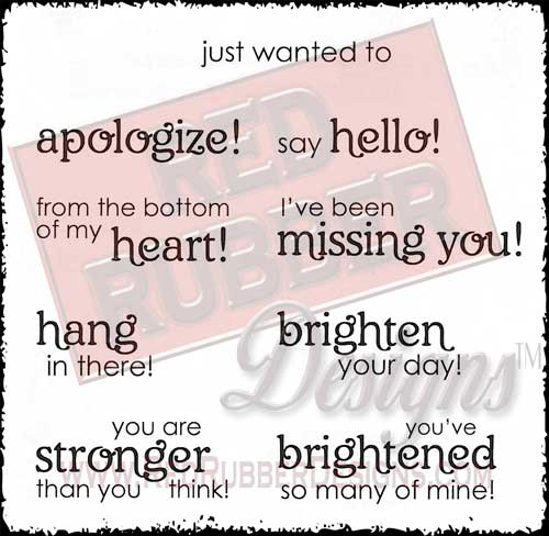 Say Hello Unmounted Rubber Stamps from Red Rubber Designs