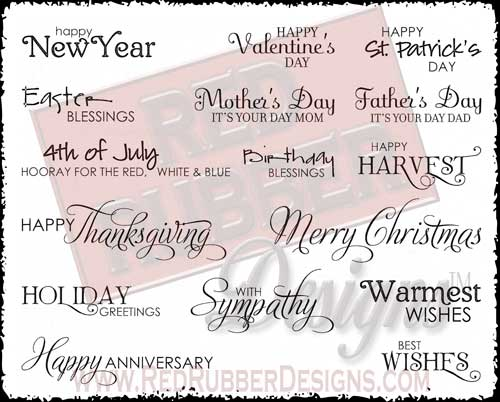 Contemporary Greetings Unmounted Rubber Stamps from Red Rubber Designs