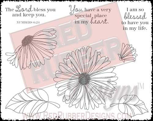 Blossoms and Blessings Unmounted Rubber Stamps from Red Rubber Designs